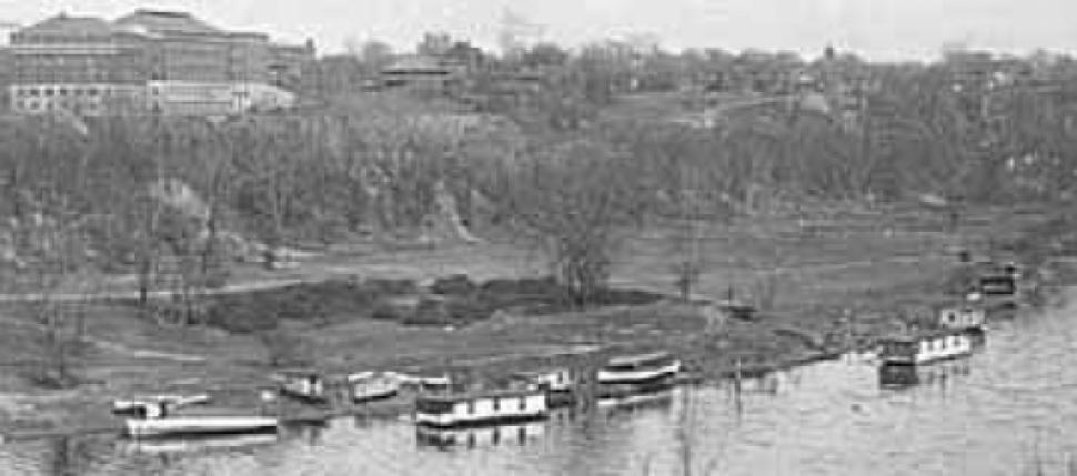 This detail of an image from the 1920s shows the University campus built out to the bluff overlooking the Mississippi River.