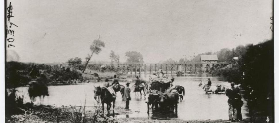 """""""Fugitive Negroes [sic] , fording Rappahannock river following Pope's retreat, August 1862"""" contributed to the Umbra Search collection by @ The Miriam and Ira D. Wallach Division of Art, Prints and Photographs: Photography Collection. The New York Public"""