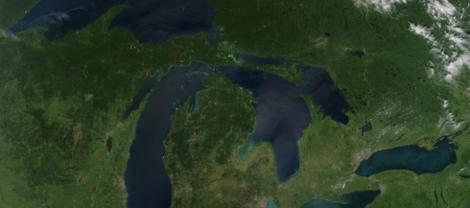 Aerial photo of the Great Lakes region by NASA.