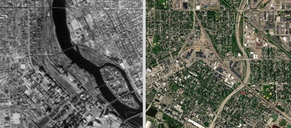 Aerial photograph of downtown Minneapolis showing imagery from 1968 on the left, and 2018 on the right.