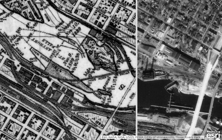 Map of downtown Minneapolis showing 1895 on the left, and 1969 on the right.
