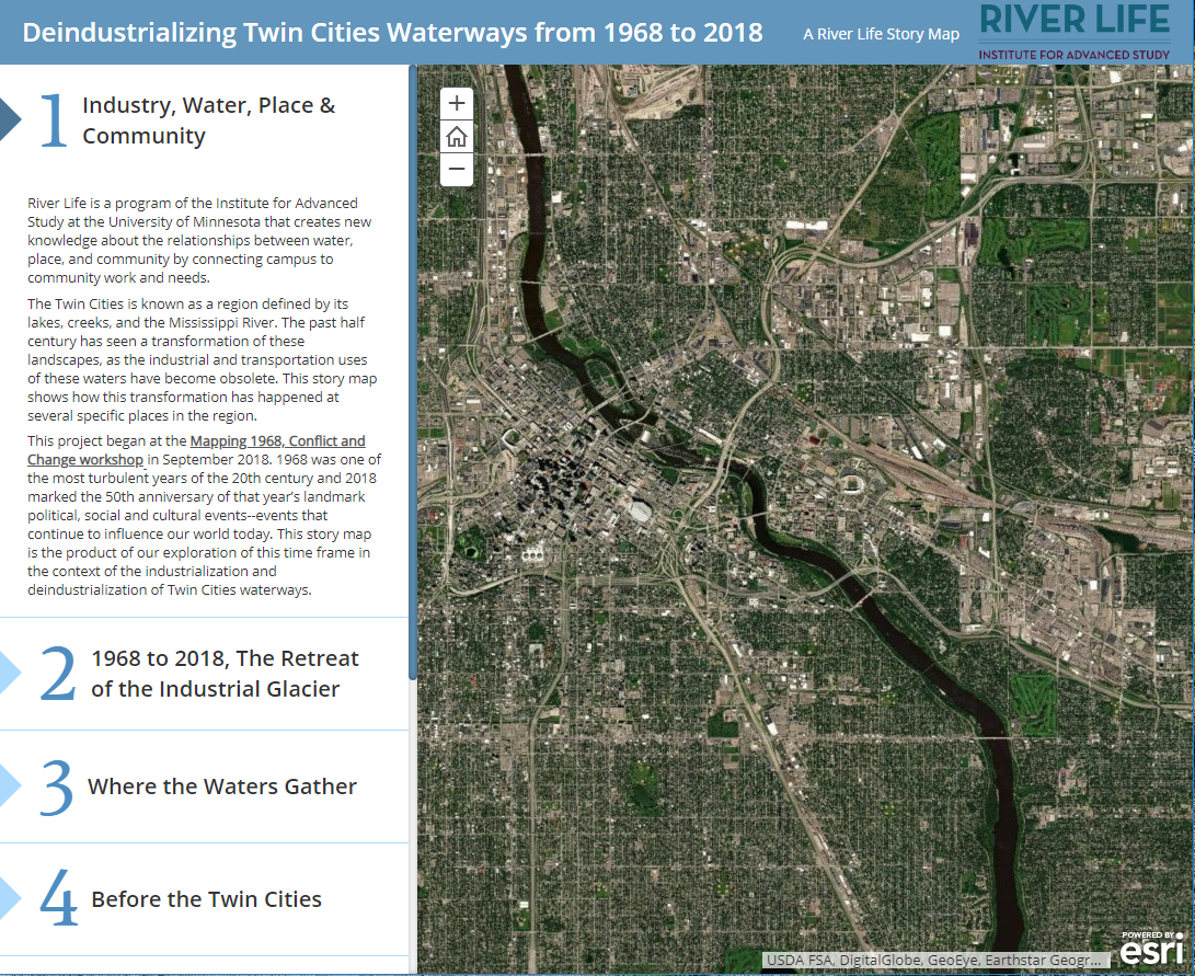 """Screen capture of an ArcGIS StoryMap titled """"Deindustrializing Twin Cities Waterways from 1968 to 2018"""""""