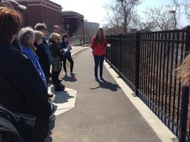 Rachel Hines leads a Water Walk on the East Bank of the University of Minnesota